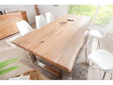 Massiver Baumstamm Tisch MAMMUT 300cm Akazie Edelstahl Kufengestell mit 6cm Tischplatte Baumtisch
