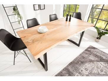 Massiver Baumstamm Tisch MAMMUT 160cm Akazie industrial Kufengestell 2,6cm Tischplatte Baumtisch