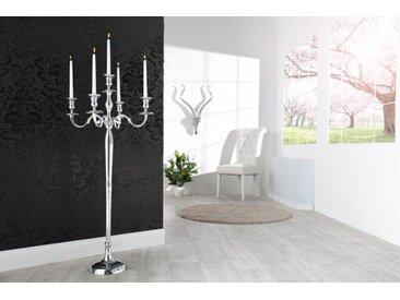 Barocker Kerzenständer 120cm silber 5-armig Lüster Aluminium poliert Kerzenhalter
