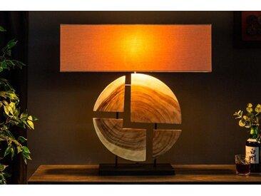 Design Tischlampe ORGANIC ARTWORK 80cm Walnussholz mit Leinenschirm