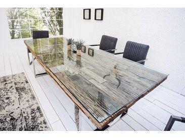 Massiver Esstisch BARRACUDA 240cm antik Teak Holz mit Stahl Kufenfüßen inkl. Glasplatte
