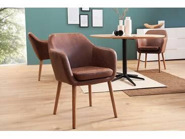 Design Armlehnen Stuhl SUPREME vintage braun mit Massivholzbeinen