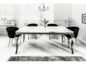 Eleganter Esstisch MODERN BAROCK 200cm grau weiß Marmor Edelstahl
