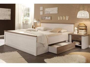 Design Doppelbett AMSTERDAM 180x200cm weiß Eiche Landhausstil inkl. 2 Nachttische