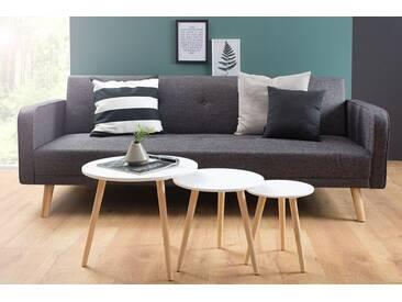 3er Set Beistelltische STOCKHOLM 50cm Retro Design weiß Pinie