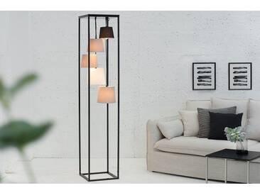 Design Stehlampe LEVELS 180cm schwarz grau 5 Leinen Schirmen