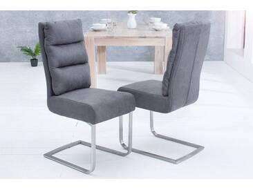 Design Freischwinger Stuhl COMFORT vintage grau Flachstahl aus gebürstetem Edelstahl