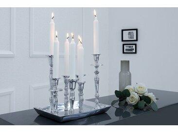 Barocker Kerzenständer 7-flammig silber Aluminium poliert Kerzenhalter Deko-Platte