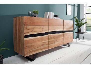 Imposantes Sideboard AMAZONAS 150cm Akazie Metall schwarz Baumkante Massivholz