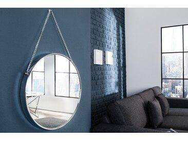 Design Wandspiegel PORTRAIT 45cm silber mit Kettenaufhängung