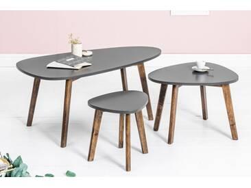 Retro 3er Set Beistelltische SCANDINAVIA 103cm grau Scandinavian Design