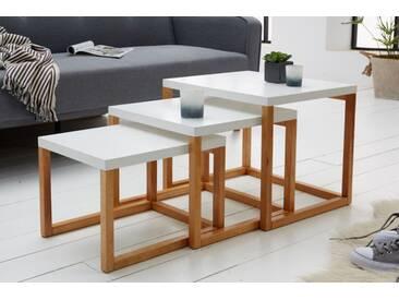 Design 3er Set Beistelltische SCANDINAVIA weiß Massivholz Couchtisch