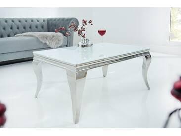 Edelstahl Couchtisch MODERN BAROCK silber 100cm mit weißem Opalglas