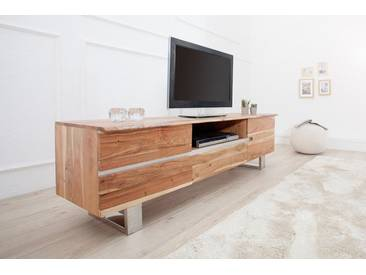 Massives Baumstamm TV Board MAMMUT 160cm Akazie Massivholz Industrial Chic Kufengestell aus Chrom