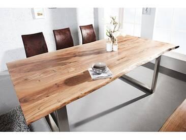 Massiver Baumstamm Tisch MAMMUT 180cm Akazie Massivholz Industrial Chic Kufengestell mit  3,5cm dicker Tischplatte Baumtisch
