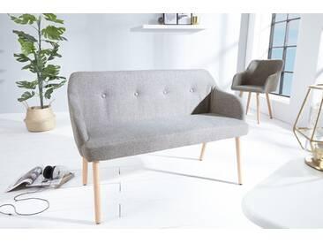 Design Sitzbank SCANDINAVIA MEISTERSTÜCK hellgrau Buchenholz mit Armlehne