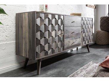 Massives Sideboard MYSTIC LIVING 145cm Akazie grau 3D Oberfläche Massivholz