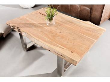 Massiver Baumstamm Couchtisch MAMMUT 120cm Akazie Massivholz Industrial Chic Tisch Kufengestell  mit 3,5 cm dicker Tischplatte Baumtisch