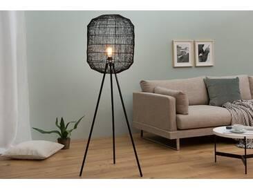 Extravagante Stehleuchte BLACK CAGE schwarz geflochtener Lampenschirm