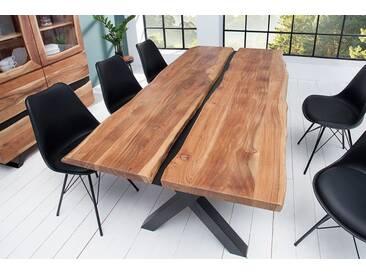 Imposanter Esstisch AMAZONAS 200cm Akazie Metall schwarz Massivholz Baumkante Baumtisch