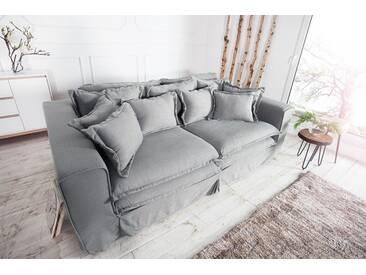 Design XXXL Hussensofa CLOUD 230cm grau Leinenstoff inkl. Kissen Landhausstil