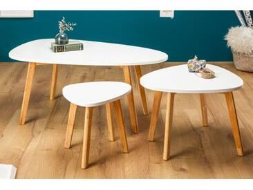 Retro 3er Set Beistelltische SCANDINAVIA 103cm weiß Eiche Scandinavian Design