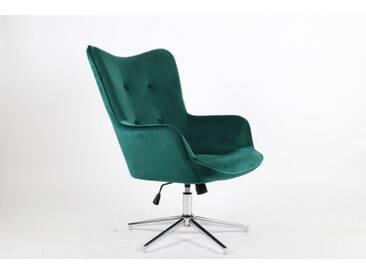 Eleganter Dreh Sessel MR. LOUNGER smaragdgrün Samt höhenverstellbar