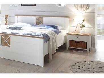 Elegante Nachtkommode SYLT 60cm weiß Nachttisch Landhausstil