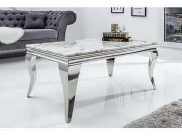 Eleganter Couchtisch MODERN BAROCK 100cm grau weiß Marmor Edelstahl