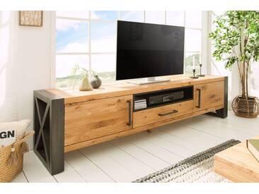 Massives TV-Board THOR 200cm Wild Eiche geölt Lowboard im Industrial Design