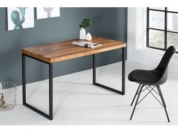 Schreibtisch FUSION 120cm Sheesham Stone Finish Metall schwarz