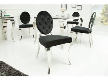 Eleganter Stuhl MODERN BAROCK schwarz Samt mit Knöpfen Edelstahlbeine