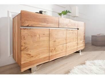 Massives Baumstamm Sideboard MAMMUT 170cm Akazie Massivholz Industrial Chic Kufengestell aus Chrom