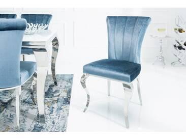 Eleganter Stuhl MODERN BAROCK III silberblau Samt Edelstahl