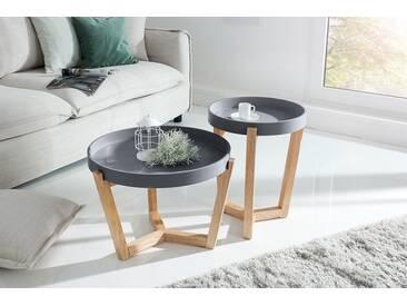 Retro 2er Set Beistelltische SCANDINAVIA 57cm grau Eiche abnehmbare Tischplatte