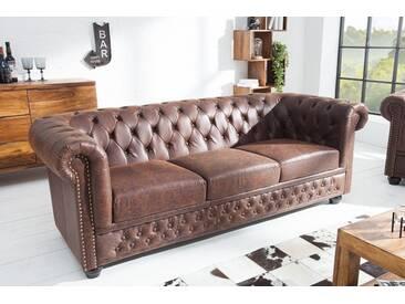 Hochwertiges Chesterfield Sofa 3-Sitzer 200cm vintage braun echtes Sattelleder