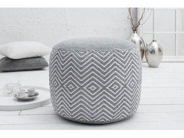 Gewebter Design Pouf LEEDS ORIENTAL 50cm grau weiß Baumwolle Sitzhocker