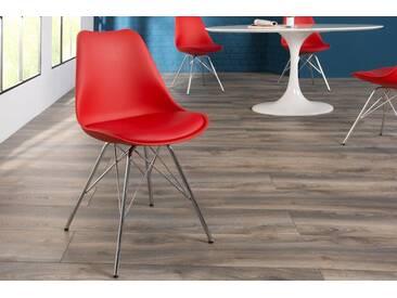 Stylischer Retro Stuhl SCANDINAVIA MEISTERSTÜCK rot hochwertig verchromtes Stuhlgestell