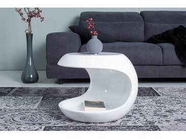 Moderner Beistelltisch SPIN 45cm weiß Couchtisch Tisch Hochglanz Aufbewahrungsfach
