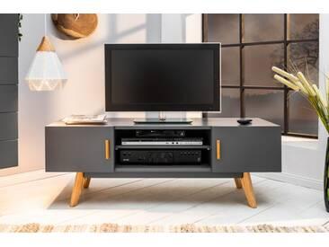 Design TV-Board SCANDINAVIA MEISTERSTÜCK 120cm grau Echt Eiche Lowboard