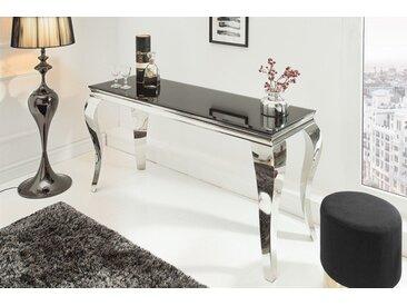 Eleganter Konsolentisch MODERN BAROCK 140cm schwarz Edelstahl Opalglas Tischplatte Laptoptisch