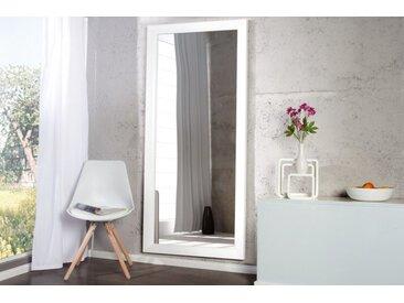 Design Wandspiegel REFLECTION 150x60cm weiß mit Facettenschliff