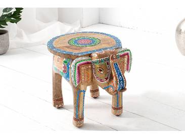 Einzigartiger Hocker Elefant MAURITIUS 40cm bunt orientalisches Design