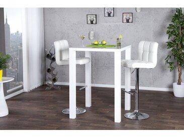 Moderner Design Bartisch LUCENTE 80cm weiß Hochglanz Bistrotisch
