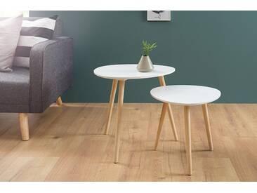 2er Set Beistelltische STOCKHOLM 50cm weiß Pinie Scandinavian Design