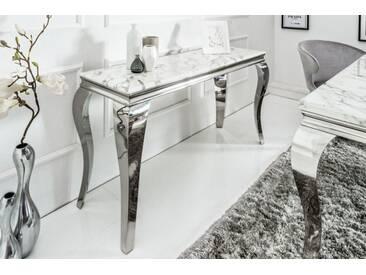 Eleganter Konsolentisch MODERN BAROCK 140cm grau weiß Marmor Edelstahl Laptoptisch