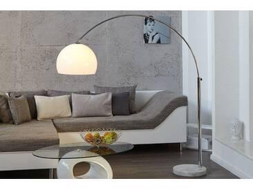 Design Bogenlampe LOUNGE DEAL weiß Marmorfuß 175 - 205cm ausziehbar Bogenleuchte