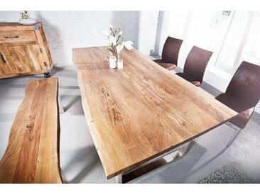 Massiver Baumstamm Tisch MAMMUT 160cm Akazie Edelstahl Kufengestell 3,5cm Tischplatte Baumtisch
