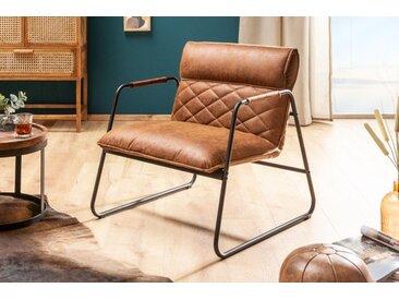 Retro Lounge Sessel MUSTANG LOUNGER antik hellbraun aus Sattelleder