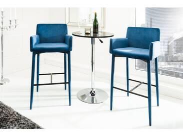 Eleganter Design Barstuhl MILANO königsblau Samt mit Armlehne